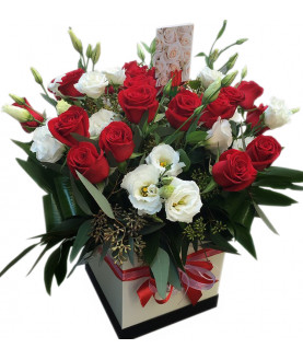 Red roses and White Lisiantus in Box 6