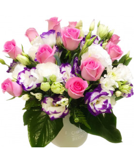Pink Roses with Lisianthus in box