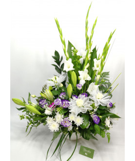 White and Purple Flowers in Arrangement