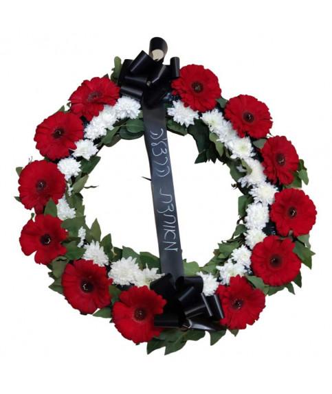 похоронный венок цветы красный и белый